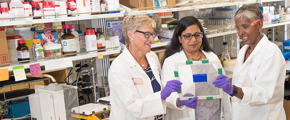 Kelle Moley, MD, director; Indira Mysorekar, PhD, co-director; and Sarah England, PhD, co-director of the Center for Reproductive Health Sciences look at a slide in the lab.
